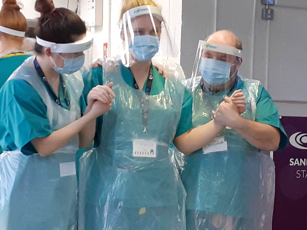SNC students carrying out Patient Handling training with Muscular Dystrophy Ireland.- Nicola Woods, Anthony O Connor, Elaine O Flaherty