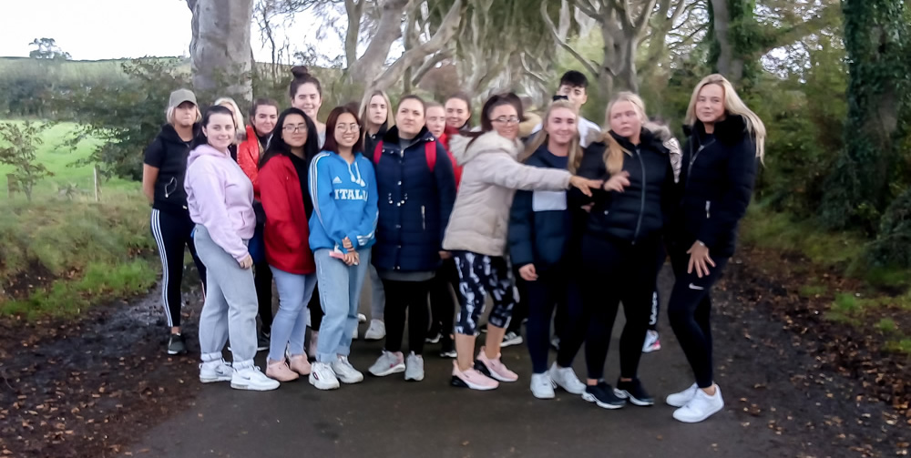 Tourism students at the Dark Hedges trip